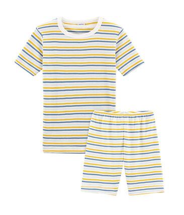 Pijama corto de corte muy ajustado de punto para niño blanco Marshmallow / blanco Multico