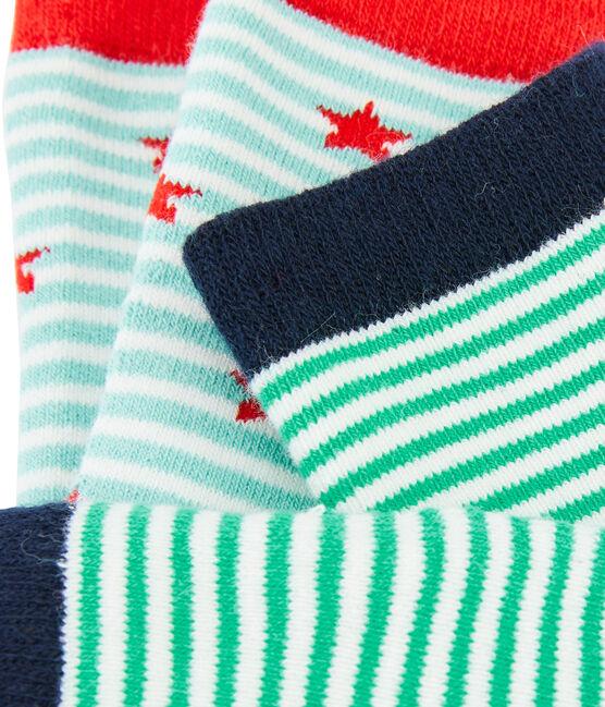Lote de 2 pares de calcetines niño azul Marshmallow:smoking / blanco Marshmallo