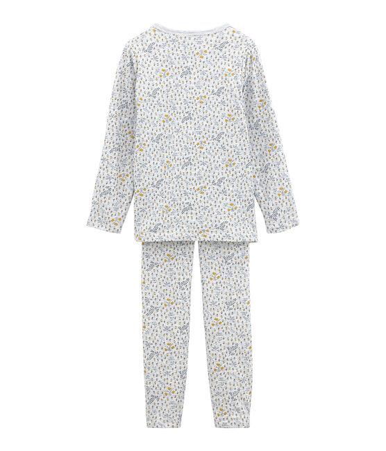 Pijama de tela túbica para niña gris Poussiere / blanco Multico