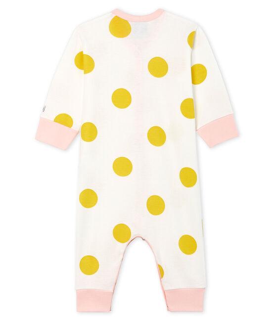 Pijama sin pies de punto para bebé niña blanco Marshmallow / amarillo Ble