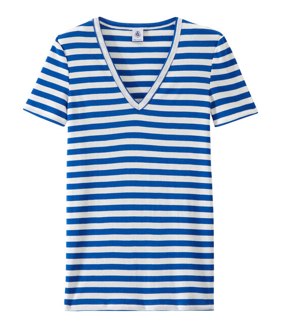 Camiseta de canalé original de rayas con cuello en pico para mujer azul Perse / blanco Marshmallow