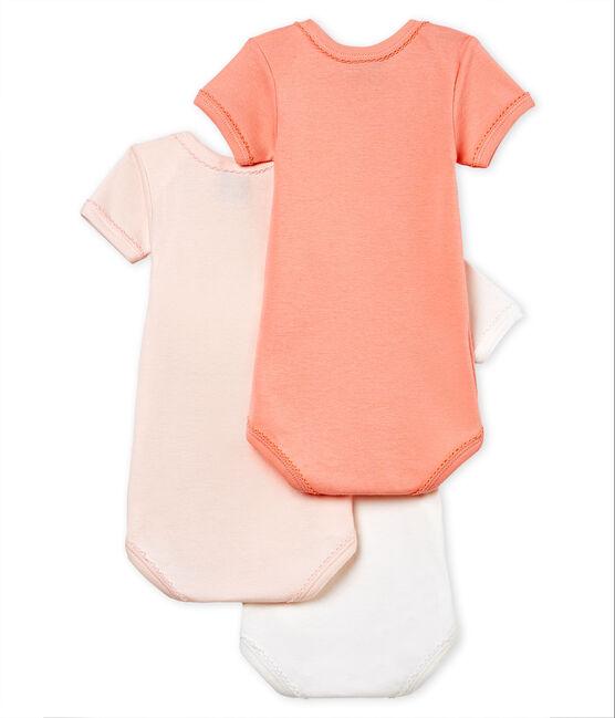 Tres bodis manga corta de algodón y lino para bebé niña lote .
