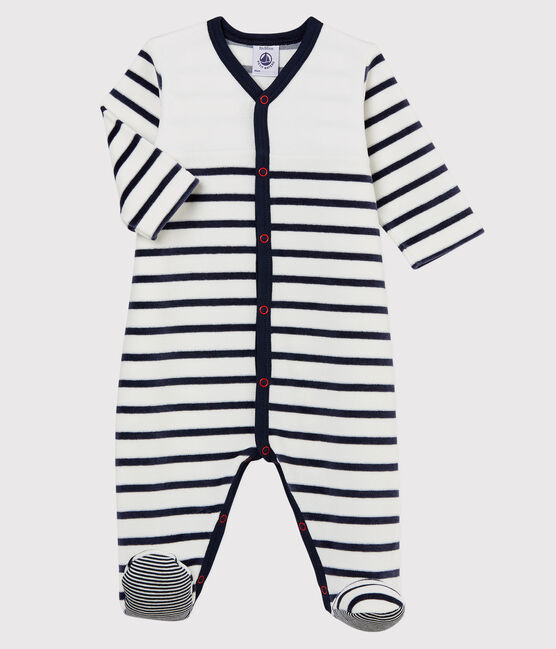 Pijama enterizo de rayas de terciopelo de bebé blanco Marshmallow / azul Smoking