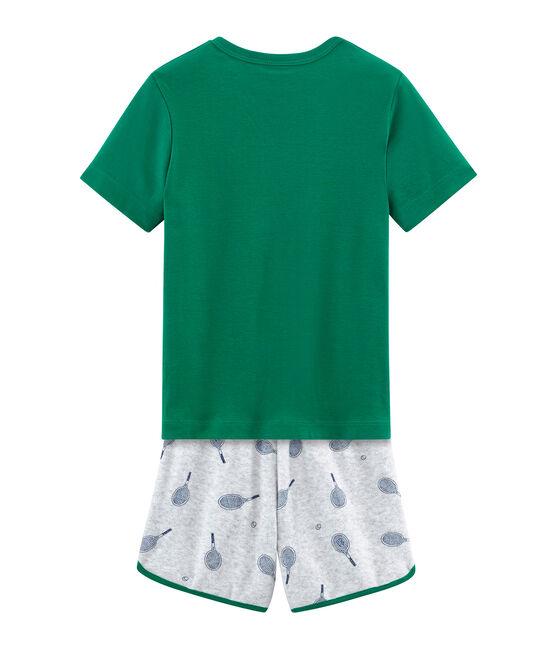 Pijama corto de rizo picado para niño gris Poussiere / blanco Multico