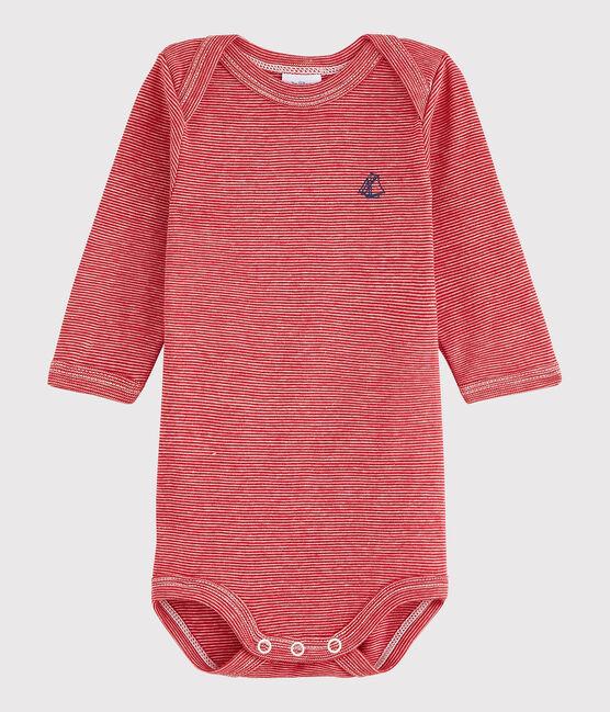 Bodi de manga larga de bebé niña/niño rojo Terkuit / blanco Marshmallow