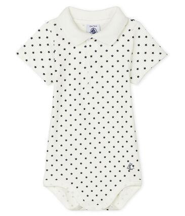 Bodi con cuello de polo estampado para bebé niño blanco Marshmallow / azul Smoking
