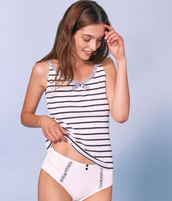 Camiseta de tirantes para mujer blanco Marshmallow / azul Smoking