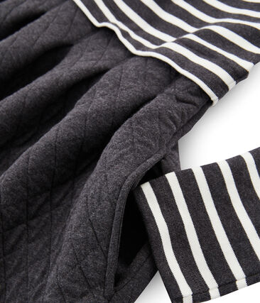 Robe bi-matière manches longues femme negro City / beige Coquille