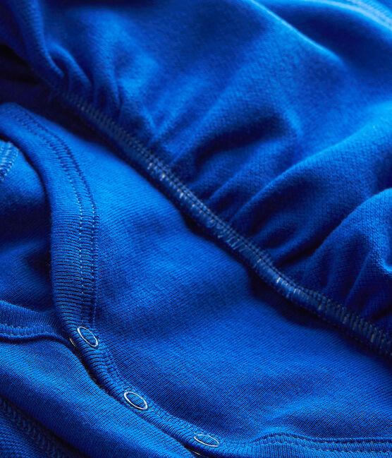 Vestido para niña de manga corta azul Perse
