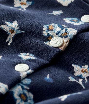Cárdigan de muletón estampado de bebé niña azul Smoking / blanco Multico