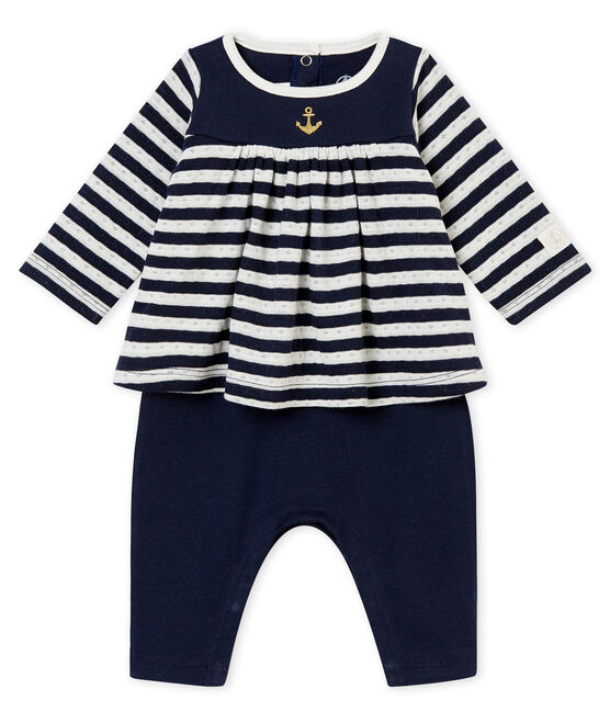 Pelele largo para bebé niña azul Smoking / blanco Marshmallow