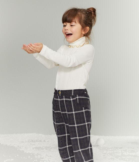 Pantalón de malla y cuadros para niña negro City / blanco Multico
