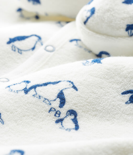 Conjunto de noche de toalla de rizo afelpado extra cálido para bebé blanco Marshmallow / azul Major Cn