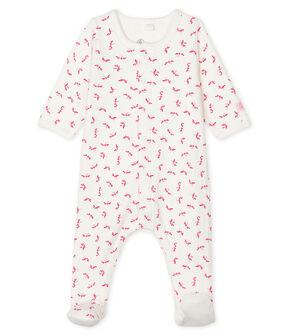 Bodyjama de tela túbica para bebé de niña blanco Marshmallow / rosa Groseiller