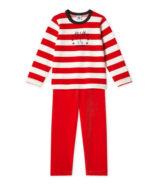 Pyjama garçon en velours rojo Froufrou / blanco Lait