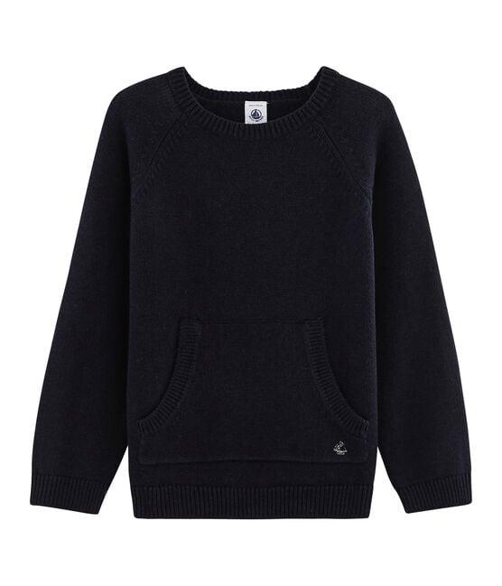Jersey de punto de lana y algodón para niño azul Smoking