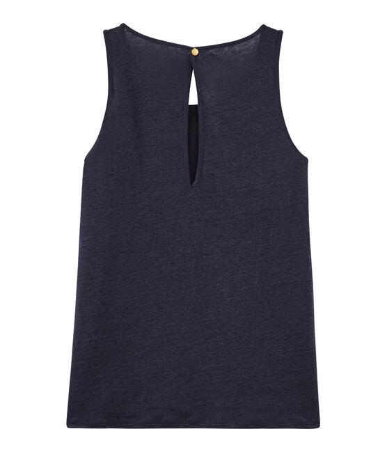 Camiseta de tirantes de lino irisado para mujer azul Smoking / rosa Copper