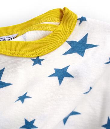 Pijama corto de corte muy ajustado de punto para niño blanco Marshmallow / azul Alaska