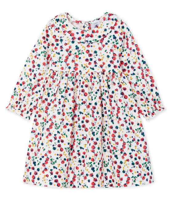 Vestido de manga larga estampado para bebé niña blanco Marshmallow / blanco Multico