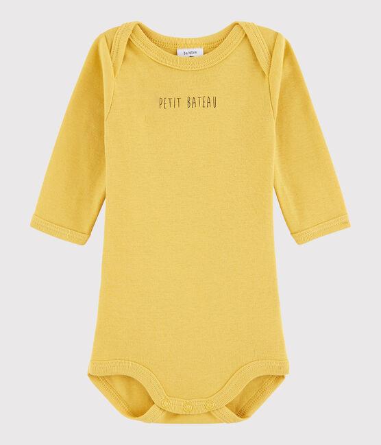 Bodi de manga larga de bebé niño amarillo Ocre