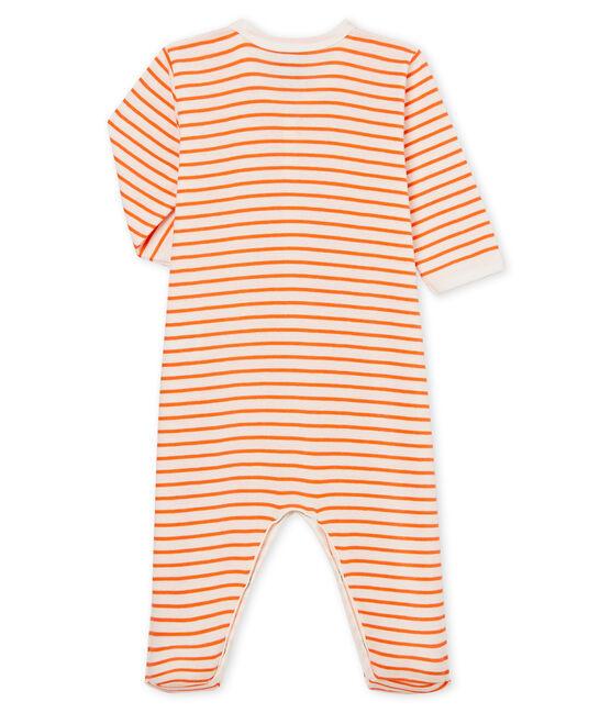 Pelele de punto para bebé niño blanco Marshmallow / naranja Orient