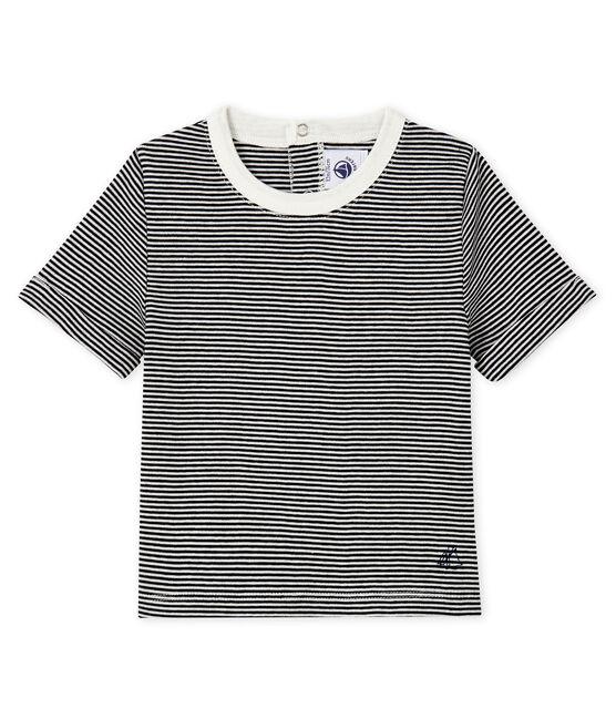 Camiseta para bebé niño mil rayas azul Smoking / blanco Marshmallow