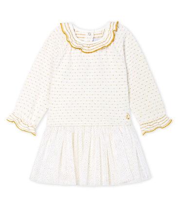 Vestido bimaterial de manga larga para bebé niña blanco Marshmallow / amarillo Or