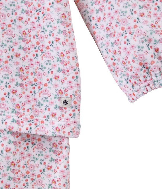 Pijama de terciopelo estampado para niña blanco Ecume / blanco Multico