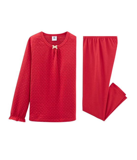 Pijama de tela túbica y acanalada para niña rojo Terkuit / amarillo Or
