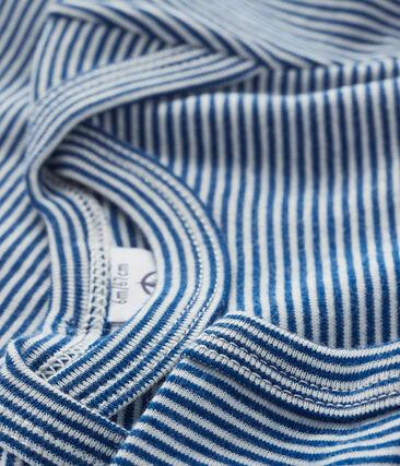 Bodi manga corta para bebé niño-niña azul Limoges / blanco Marshmallow