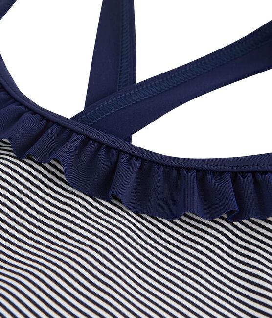 Traje de baño de una pieza para niña azul Abysse / blanco Lait