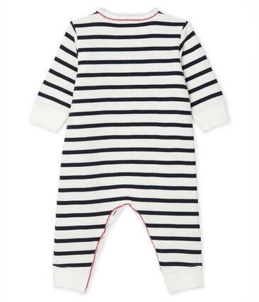 Pelele de noche para bebé blanco Marshmallow / azul Smoking