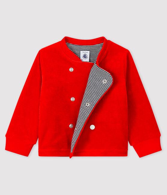 Cárdigan de terciopelo para bebé niño rojo Terkuit