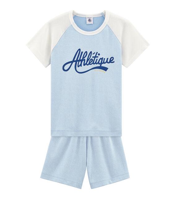 Pijama corto de punto para niño azul Placid / blanco Marshmallow