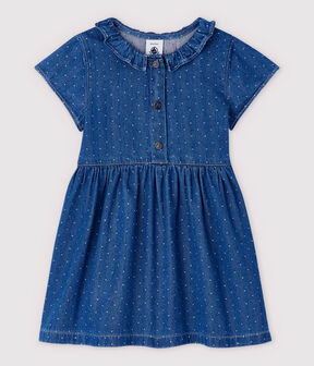 Vestido vaquero claro de lunares de bebé niña azul Denim clair
