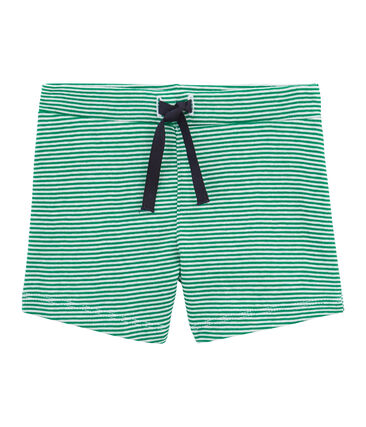 Pantalones cortos de rayas para bebé niño verde Pivert / blanco Marshmallow