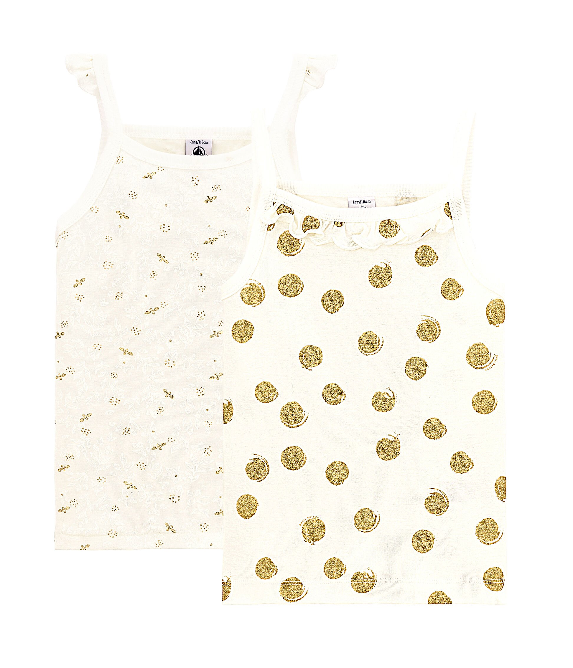 Pack de 2 Petit Bateau Camiseta de Tirantes para Ni/ñas