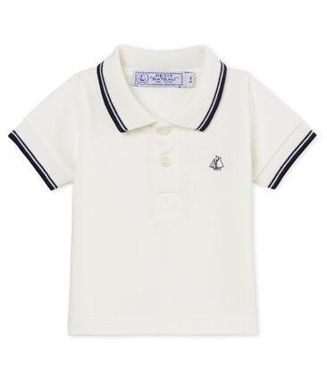 Polo manga corta de piqué liso para bebé niño blanco Marshmallow