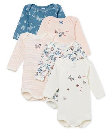 Lote de 5 bodis de manga larga de algodón para bebé de niña