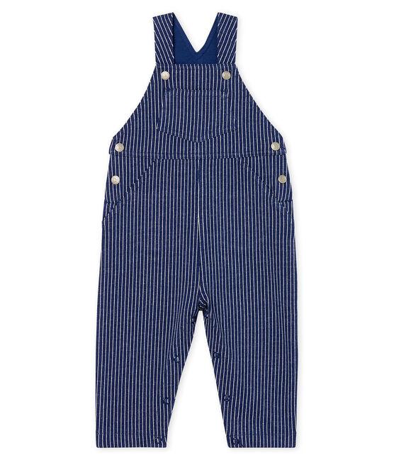 Peto largo en tela de rayas para bebé niño azul Smoking / blanco Marshmallow