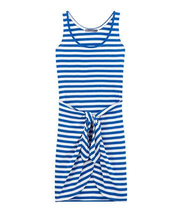 Vestido de playa adulto azul Perse / blanco Marshmallow
