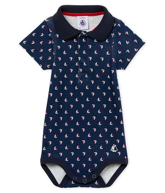Body manga corta cuello polo estampado para bebé niño azul Haddock / blanco Multico