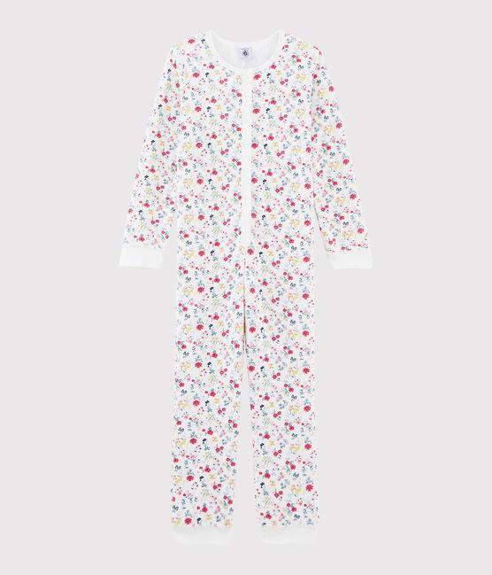 Mono con flores de niña de rizo picado blanco Marshmallow / blanco Multico