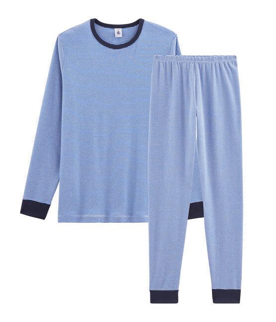 Pijama de punto para niño azul Pablito / blanco Marshmallow