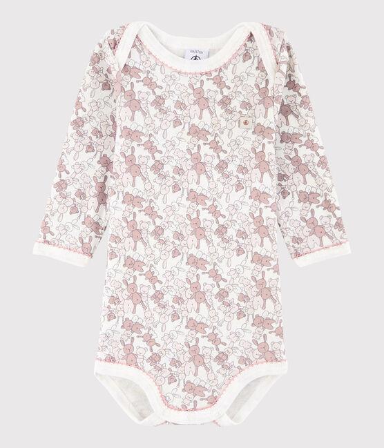 Bodi de manga larga de bebé niña rosa Charme / blanco Marshmallow