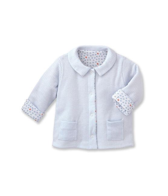 Unisex baby padded reversible milleraies jacket azul Fraicheur / blanco Ecume
