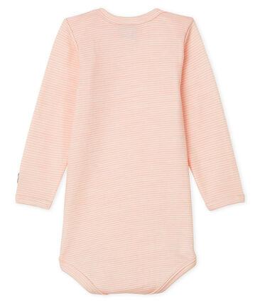 Body de manga larga para bebé de lana y algodón rosa Charme / blanco Marshmallow