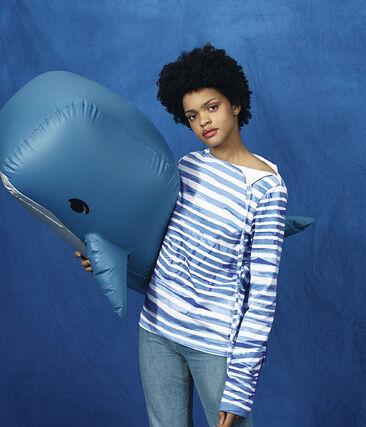 Camiseta marinera blanco Marshmallow / azul Bleu