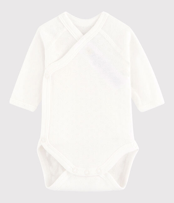 Bodi cruzado de manga larga de bebé niña/niño blanco Marshmallow