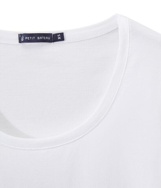 Camiseta en jersey ligero con cuello redondo para mujer blanco Ecume